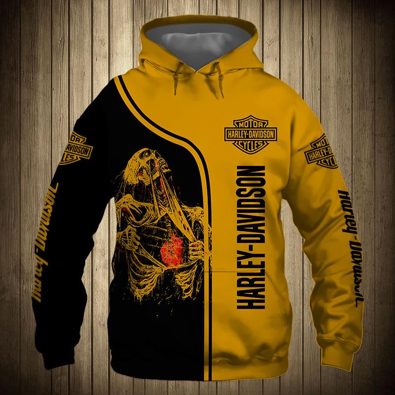 Skull art harley-davidson motorcycle all over printed hoodie