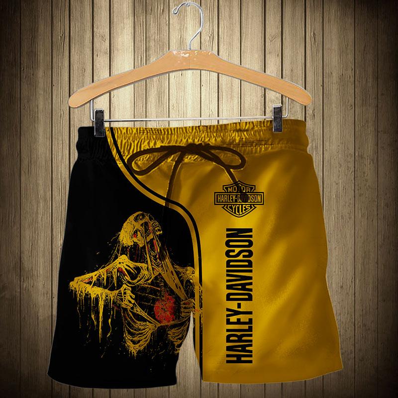 Skull art harley-davidson motorcycle all over printed shorts
