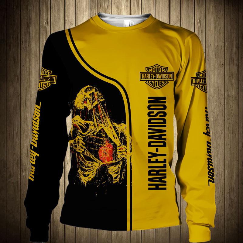 Skull art harley-davidson motorcycle all over printed sweatshirt