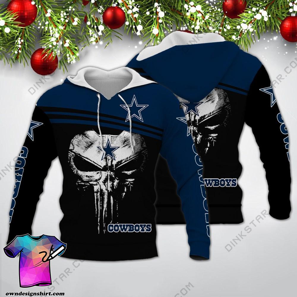 Skull dallas cowboys all over print shirt