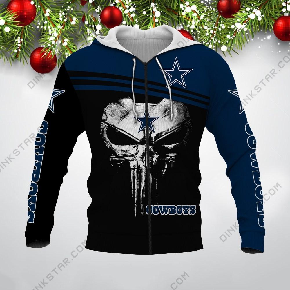 Skull dallas cowboys all over print zip hoodie