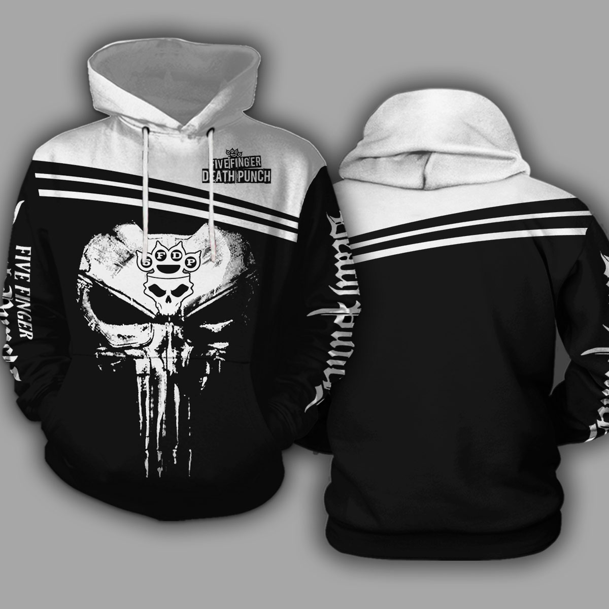 Skull five finger death punch all over print hoodie 1