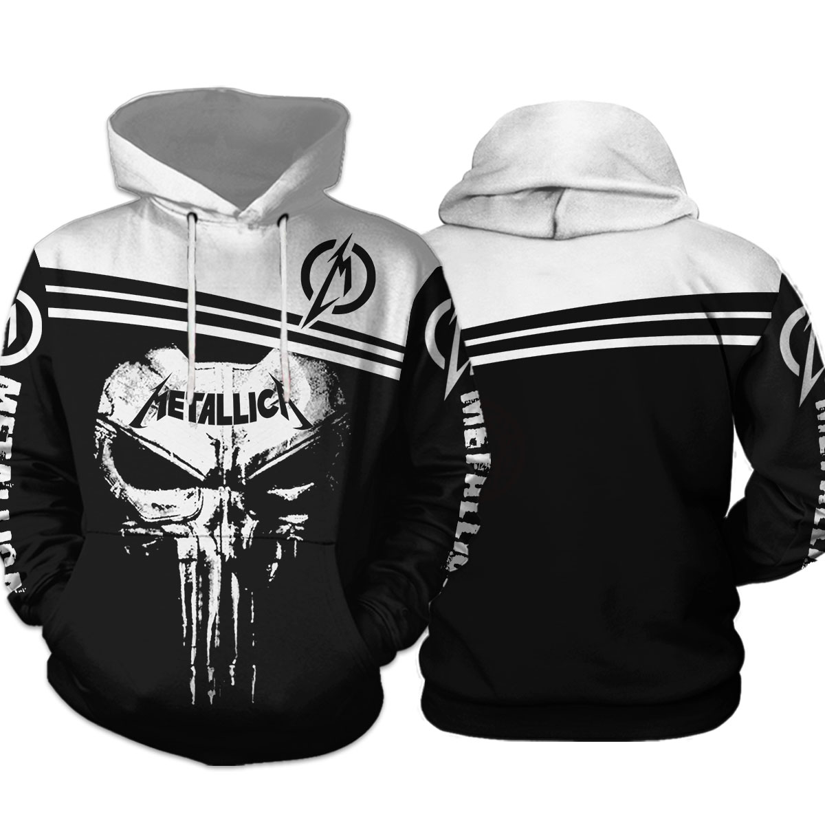 Skull metallica all over print hoodie 1