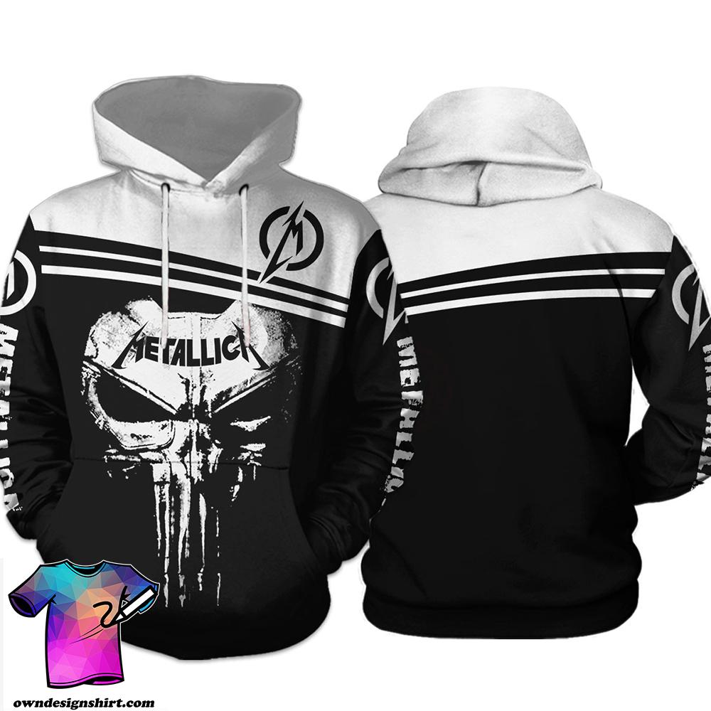 Skull metallica all over print hoodie