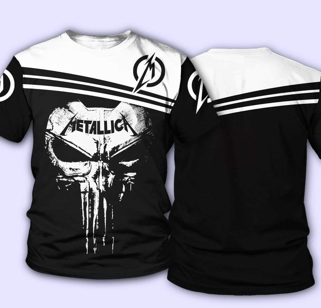Skull metallica all over print tshirt