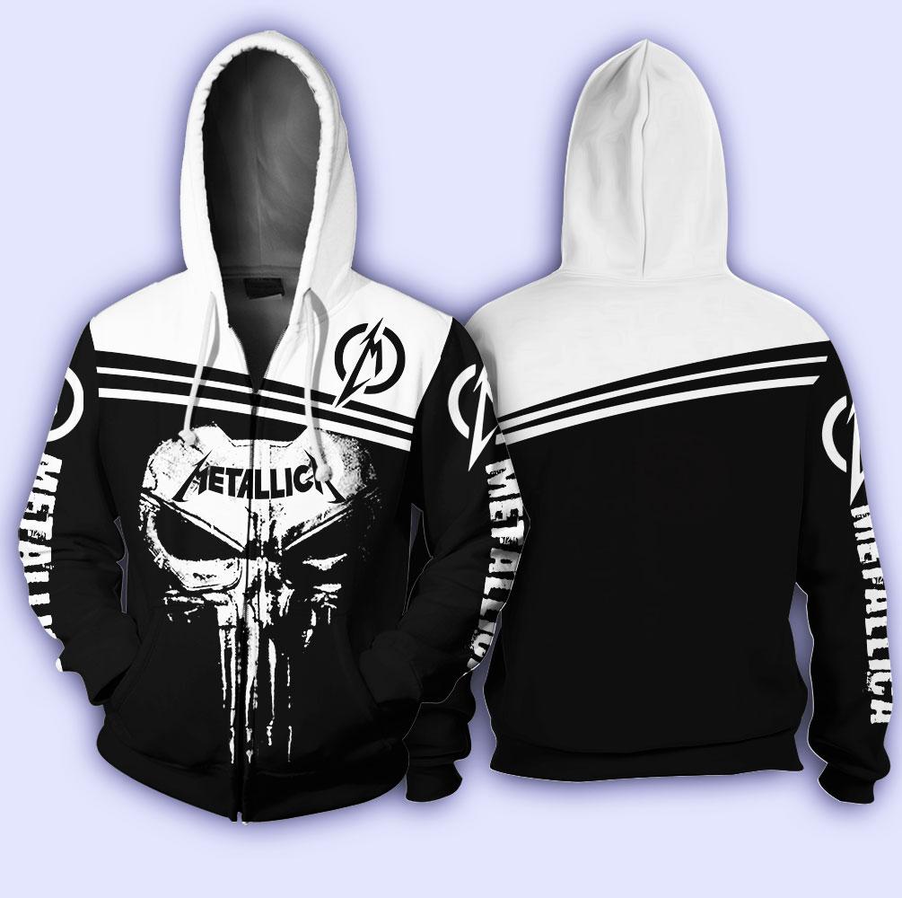 Skull metallica all over print zip hoodie