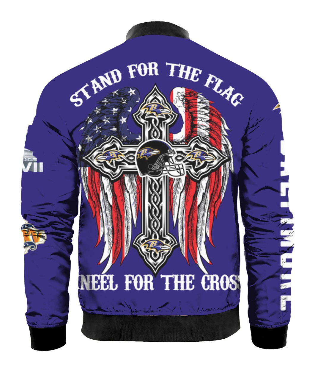 Stand for the flag kneel for the cross baltimore ravens all over print bomber - back