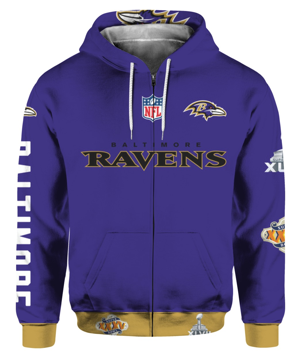 Stand for the flag kneel for the cross baltimore ravens all over print zip hoodie