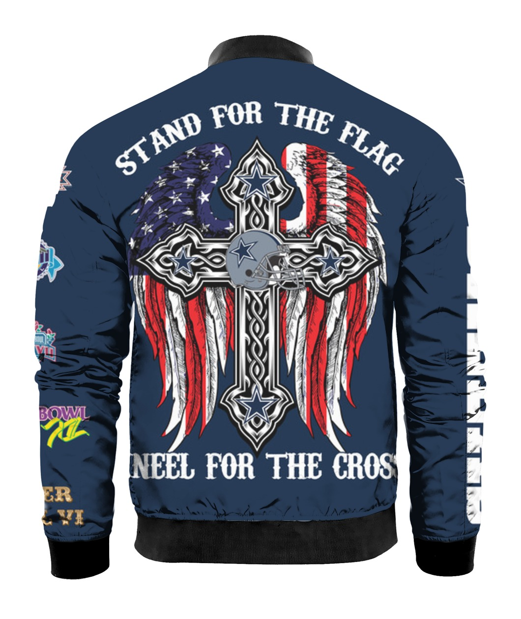 Stand for the flag kneel for the cross dallas cowboys all over print bomber - back
