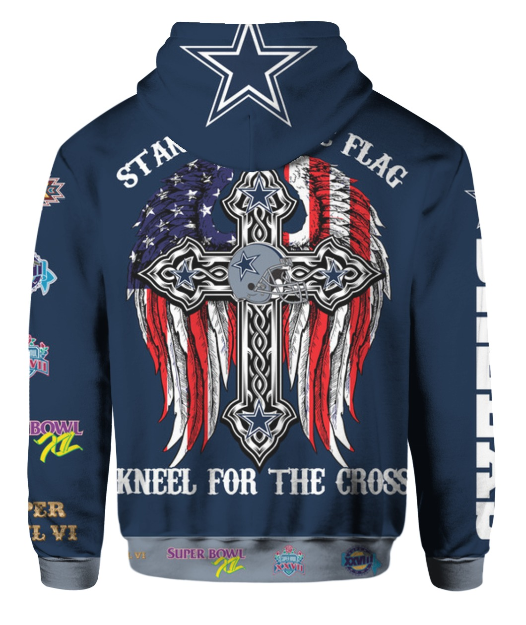 Stand for the flag kneel for the cross dallas cowboys all over print hoodie - back