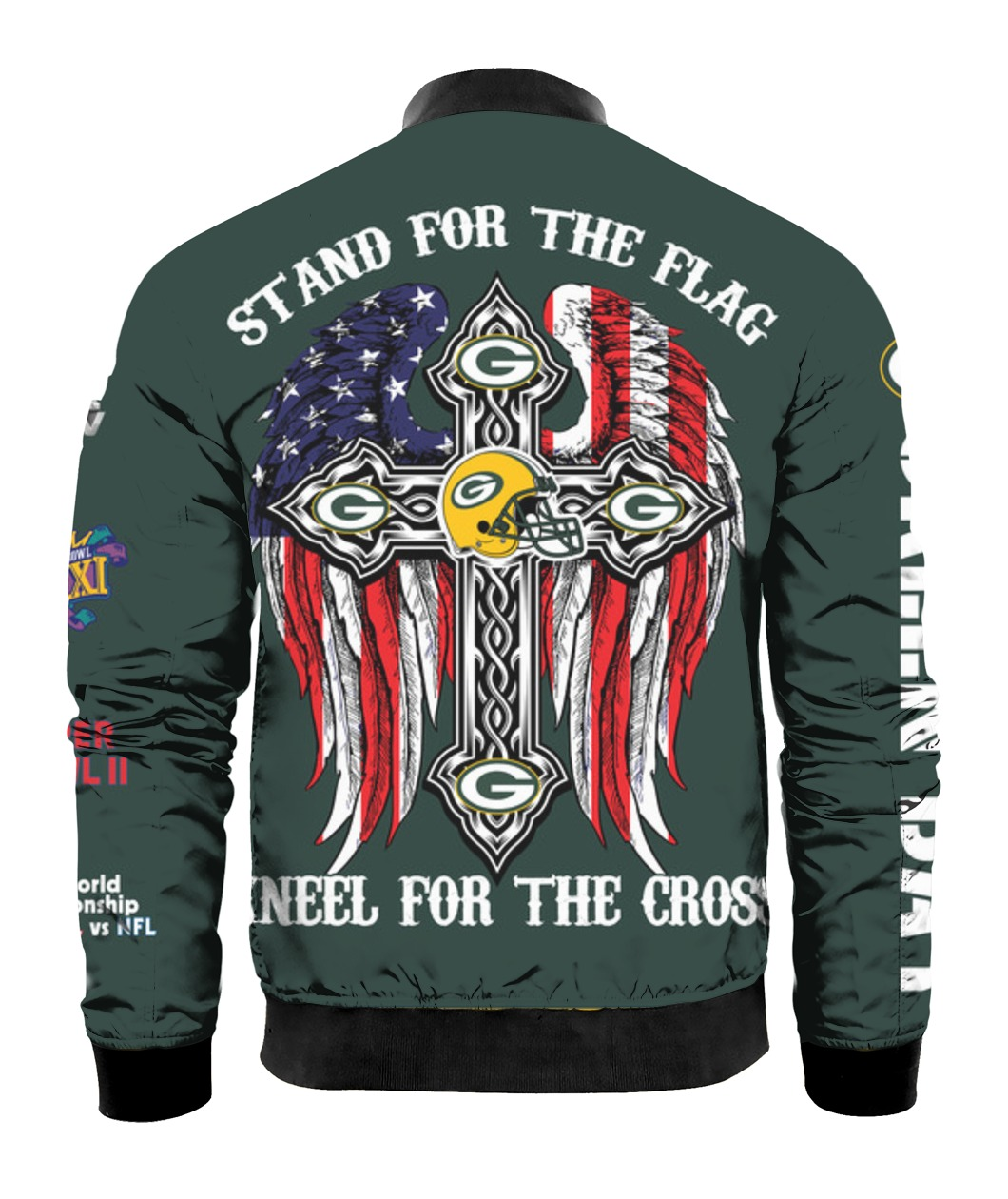 Stand for the flag kneel for the cross green bay packers all over print bomber - back