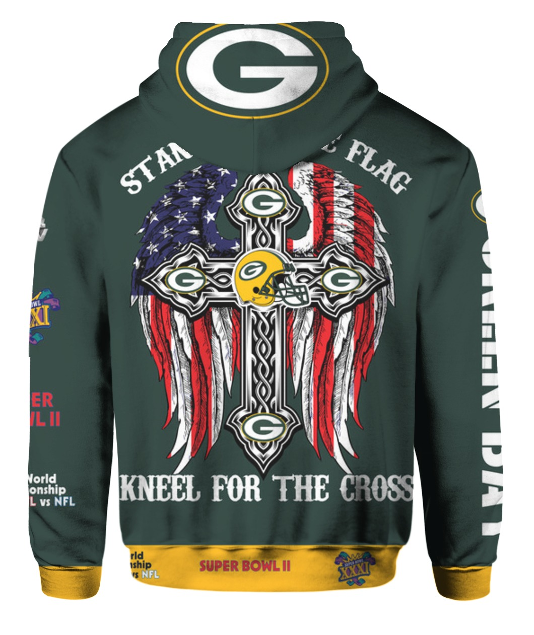 Stand for the flag kneel for the cross green bay packers all over print hoodie - back