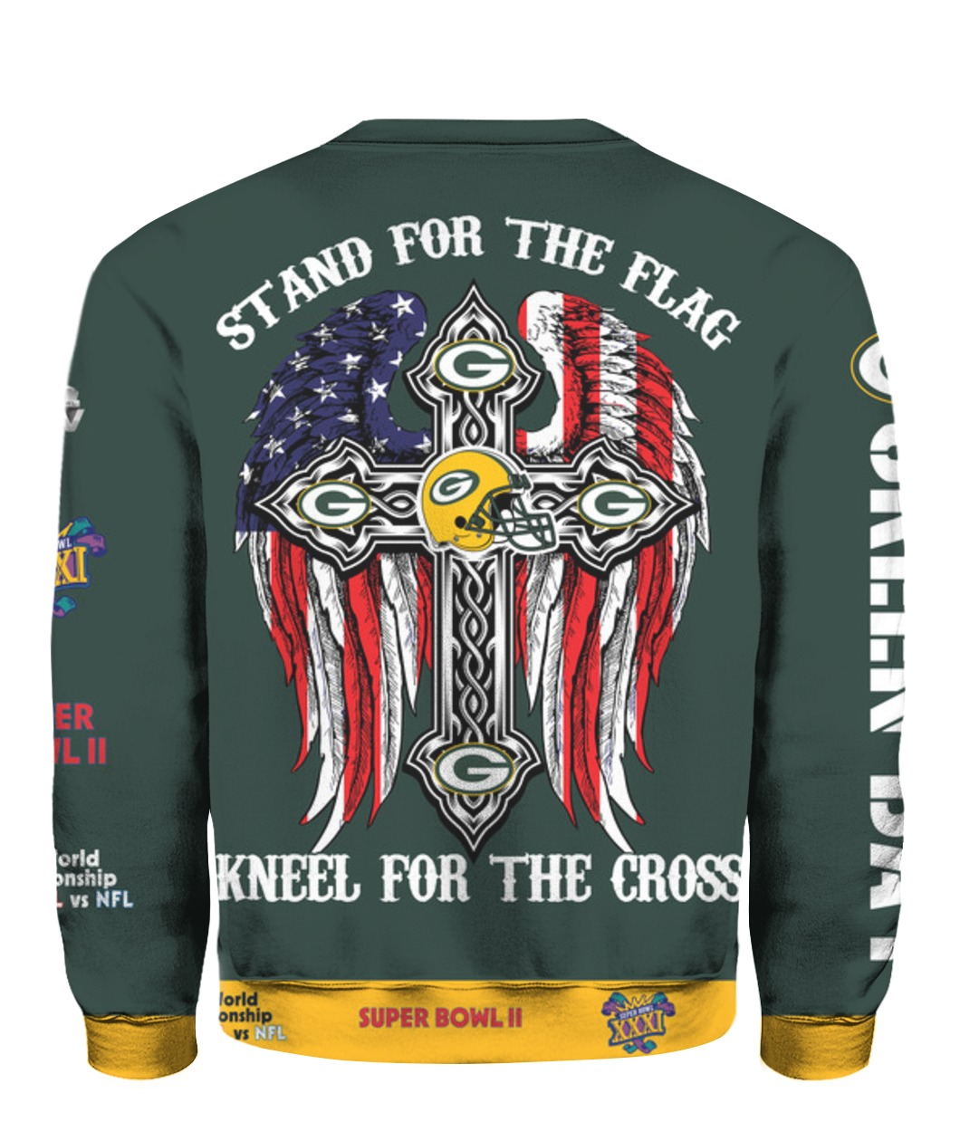 Stand for the flag kneel for the cross green bay packers all over print sweatshirt - back