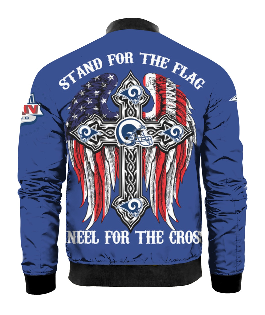 Stand for the flag kneel for the cross los angeles rams all over print bomber - back