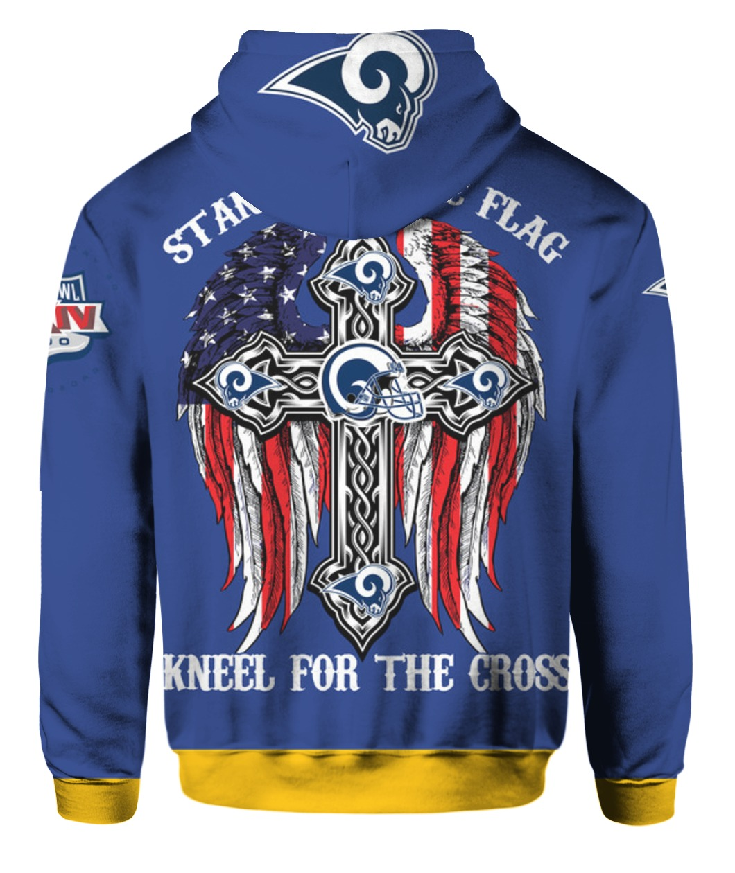 Stand for the flag kneel for the cross los angeles rams all over print hoodie - back