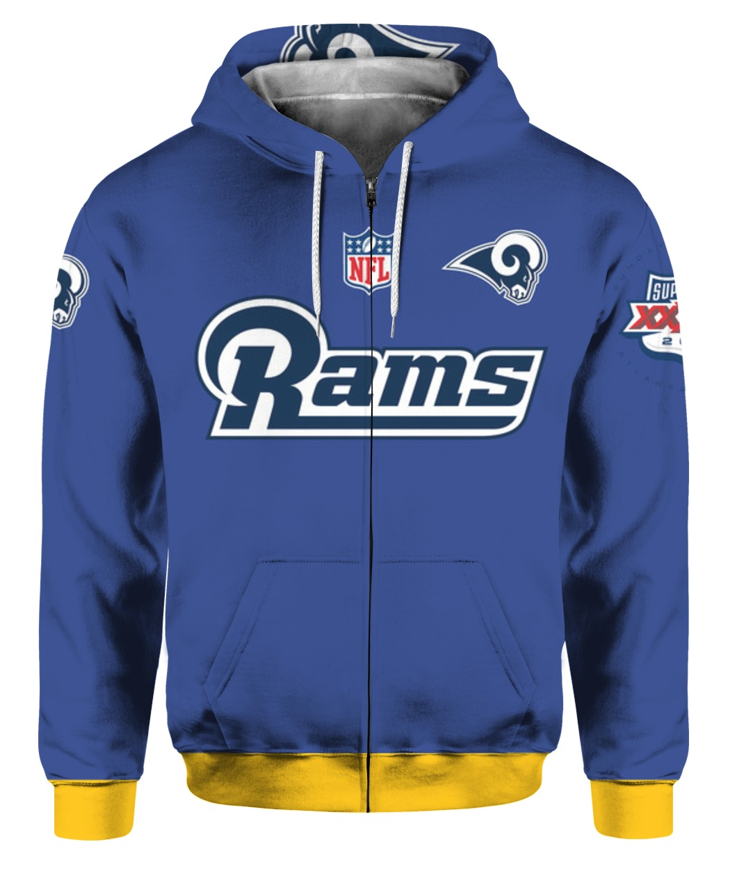 Stand for the flag kneel for the cross los angeles rams all over print zip hoodie