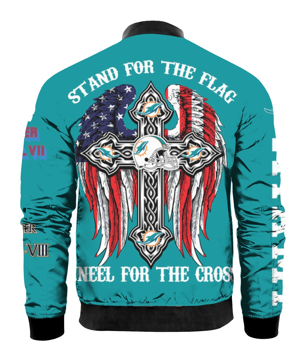 Stand for the flag kneel for the cross miami dolphins all over print bomber - back