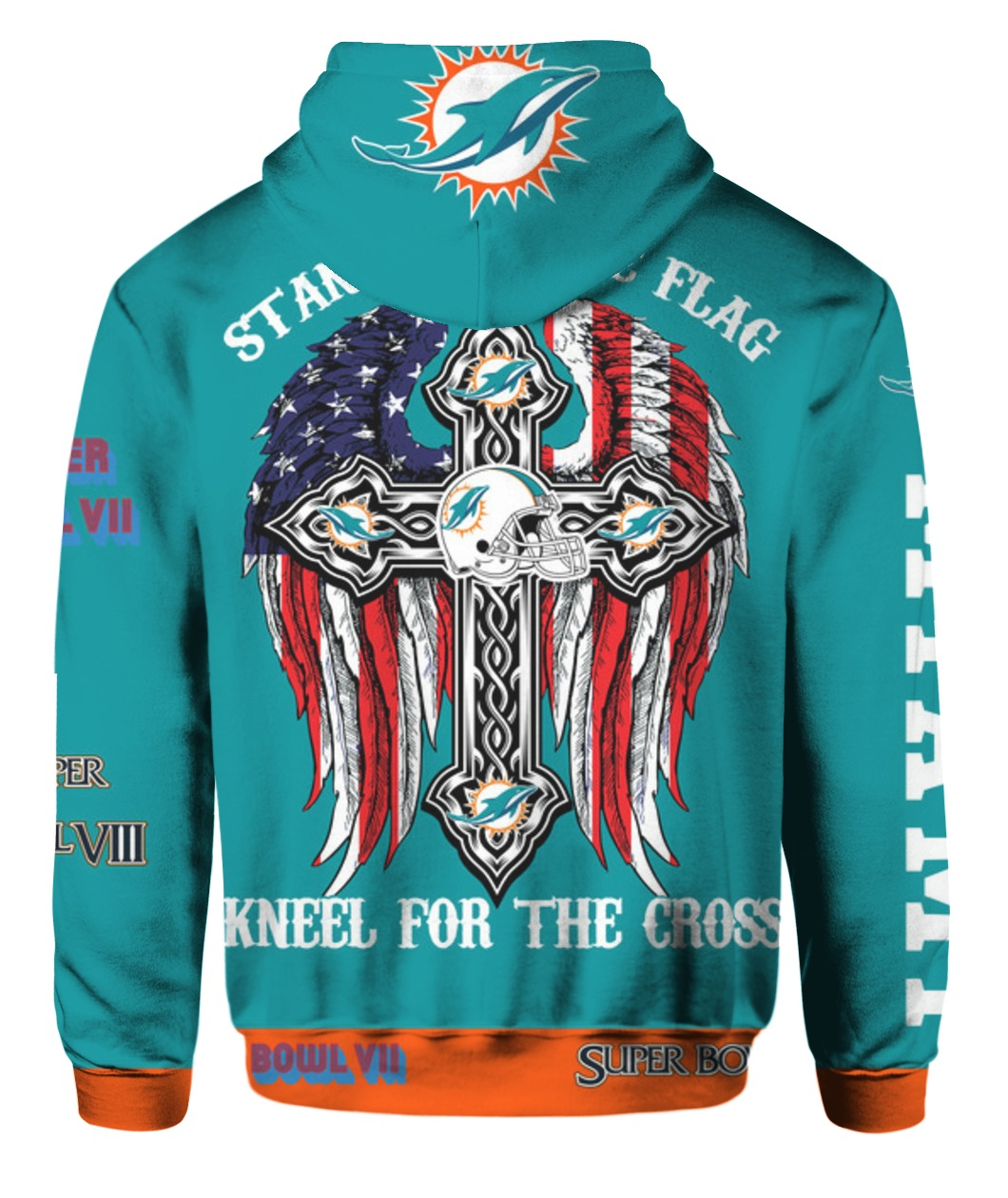 Stand for the flag kneel for the cross miami dolphins all over print hoodie - back