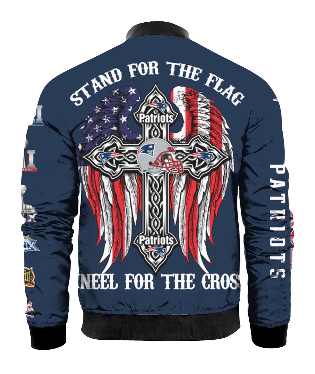 Stand for the flag kneel for the cross new england patriots all over print bomber - back