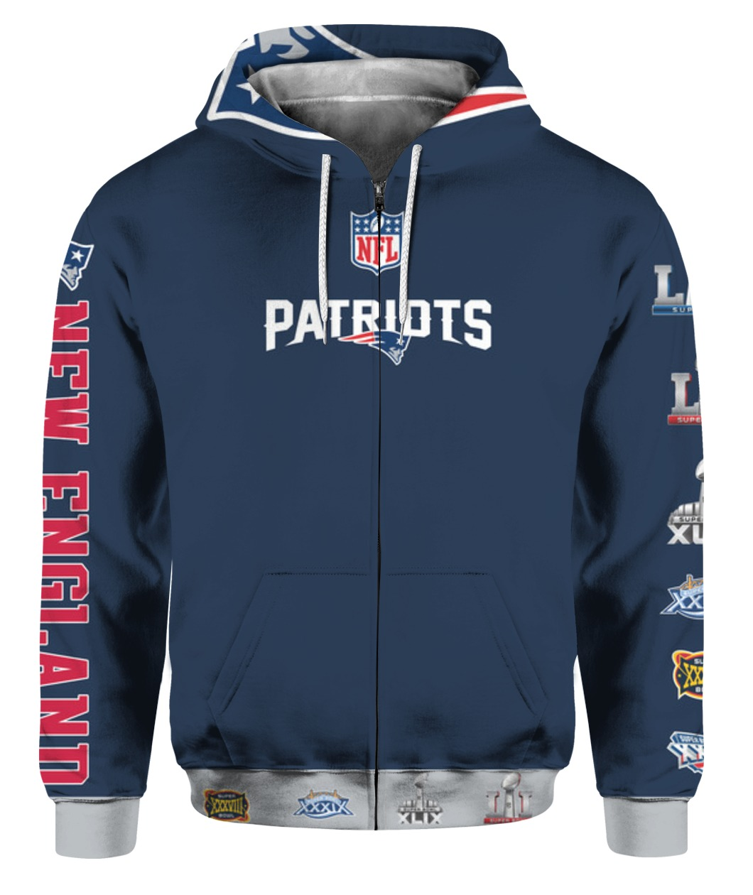 Stand for the flag kneel for the cross new england patriots all over print zip hoodie