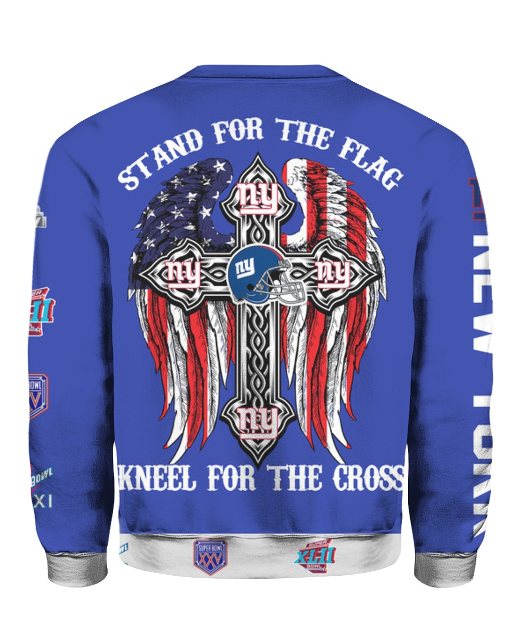 Stand for the flag kneel for the cross new york giants all over print sweatshirt - back
