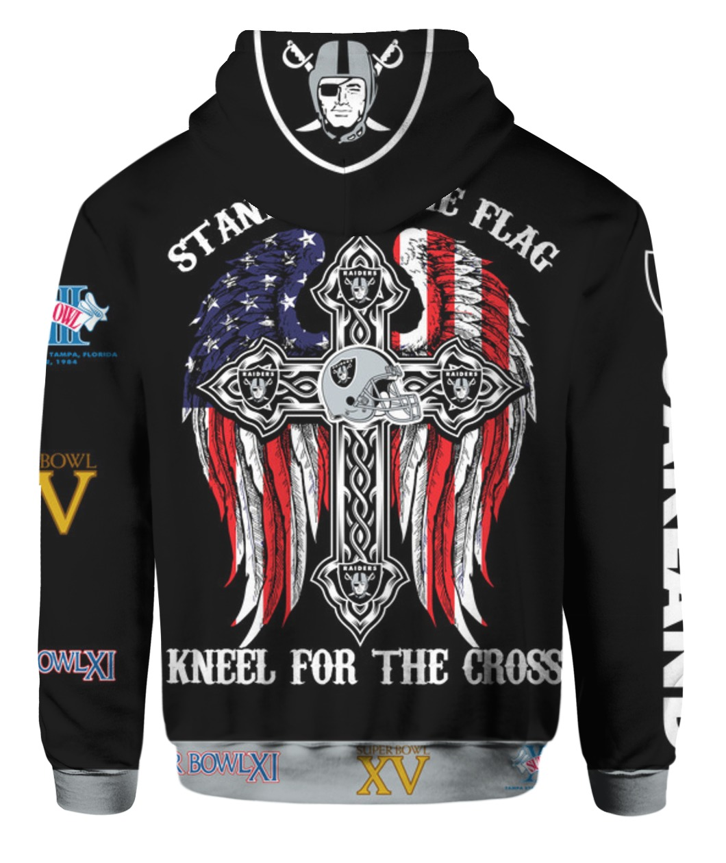 Stand for the flag kneel for the cross oakland raiders all over print hoodie - back