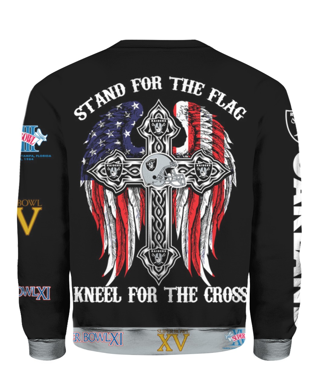 Stand for the flag kneel for the cross oakland raiders all over print sweatshirt - back