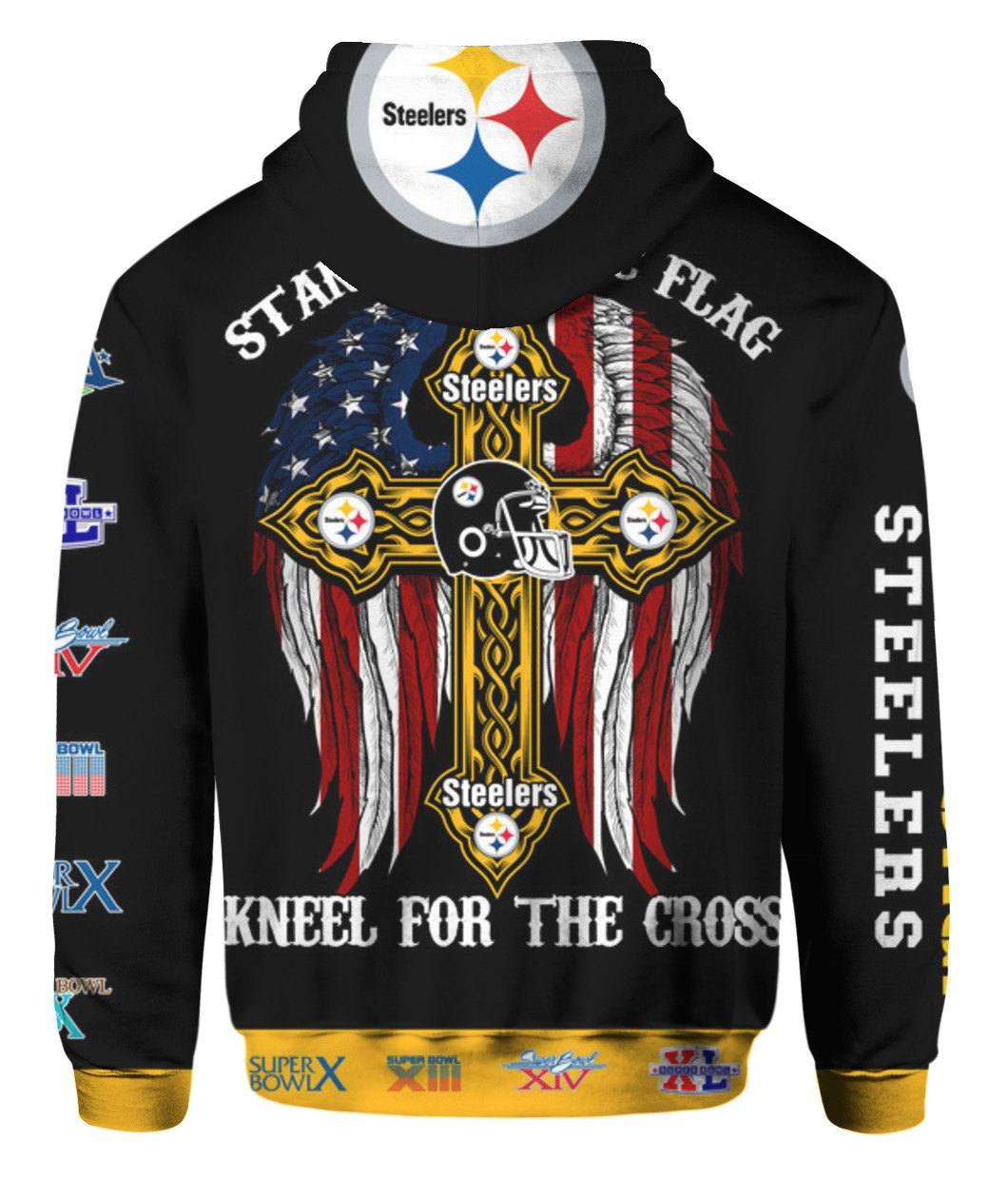 Stand for the flag kneel for the cross pittsburgh steelers all over print hoodie - back