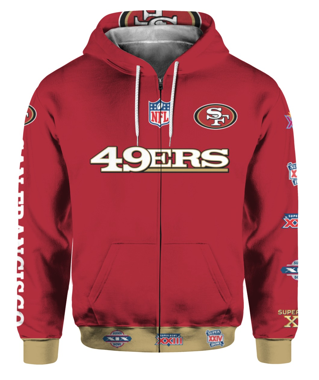 Stand for the flag kneel for the cross san francisco 49ers all over print zip hoodie