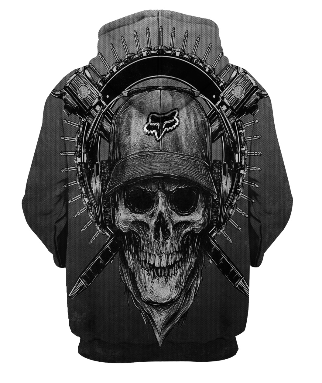 Terror noise division fox racing all over print hoodie - back