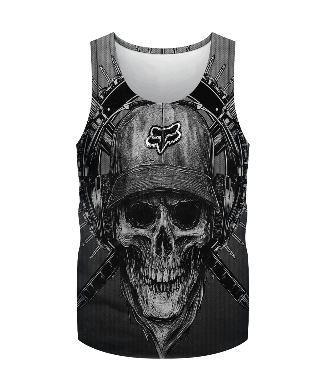Terror noise division fox racing all over print tank top