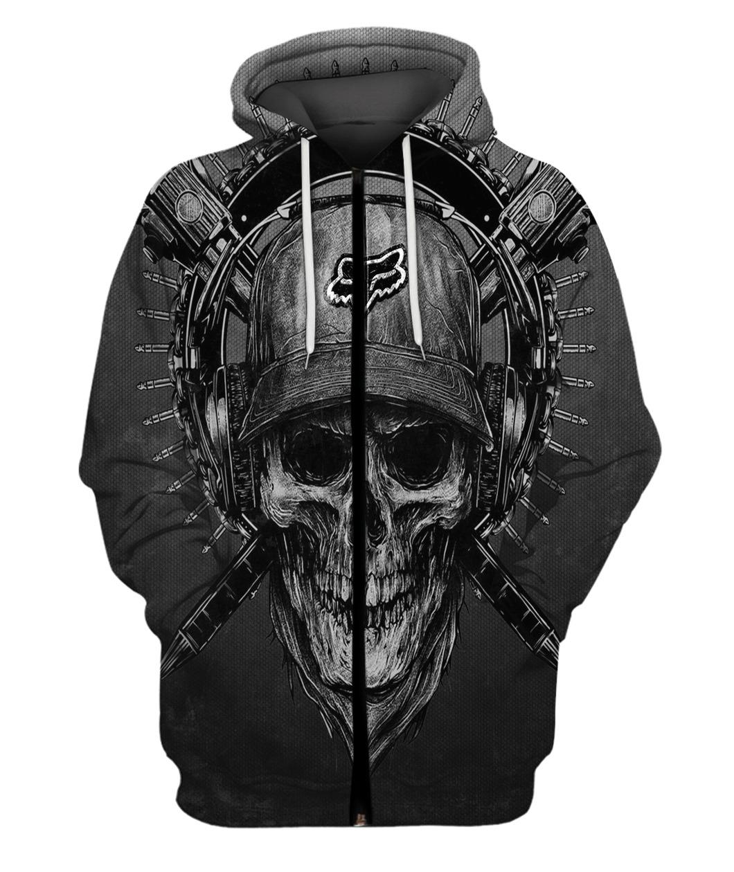 Terror noise division fox racing all over print zip hoodie