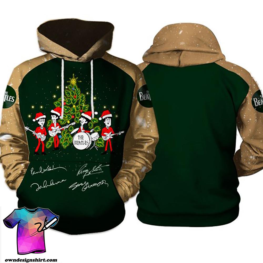 The beatles singing christmas tree full printing hoodie