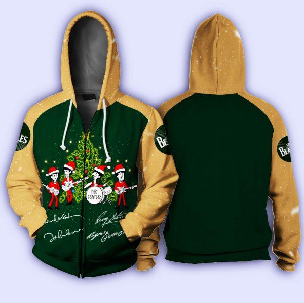 The beatles singing christmas tree full printing zip hoodie