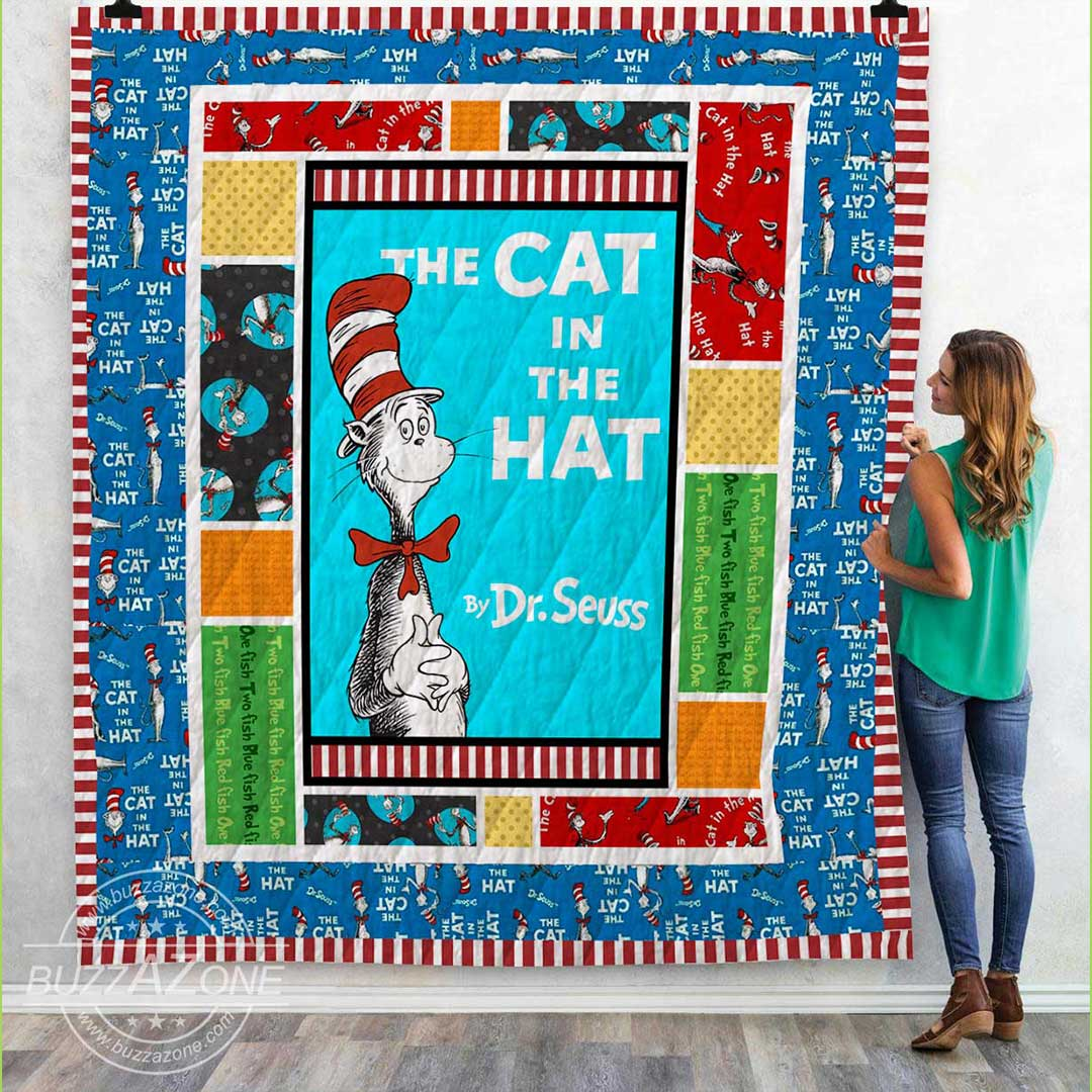 The cat in the hat dr seuss quilt 1