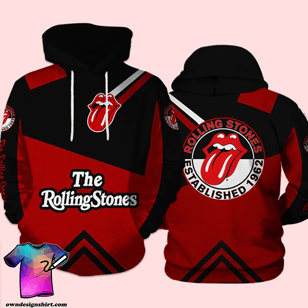 The rolling stones established 1962 all over print hoodie