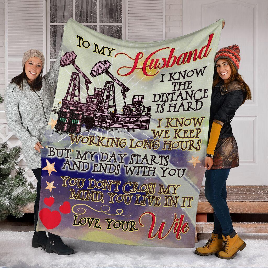 To my husband an oilfield man blanket 3