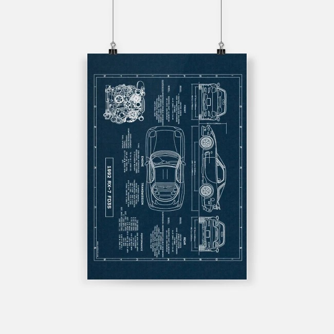 1992 rx 7 fd3s mazda rx 7 car structure design poster 4