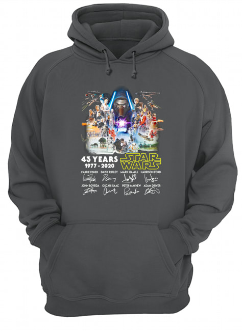 43 years of star wars 1977 2020 signature thank you for the memories hoodie