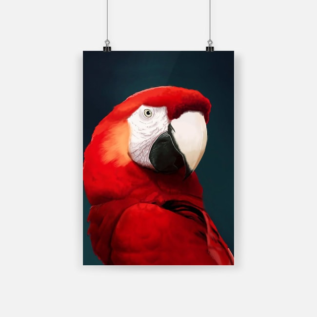 Amazing macaw beautifully designed red parrot poster 4