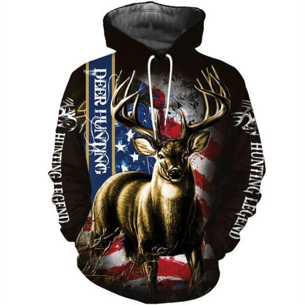 American flag hunting deer hunter all over print hoodie