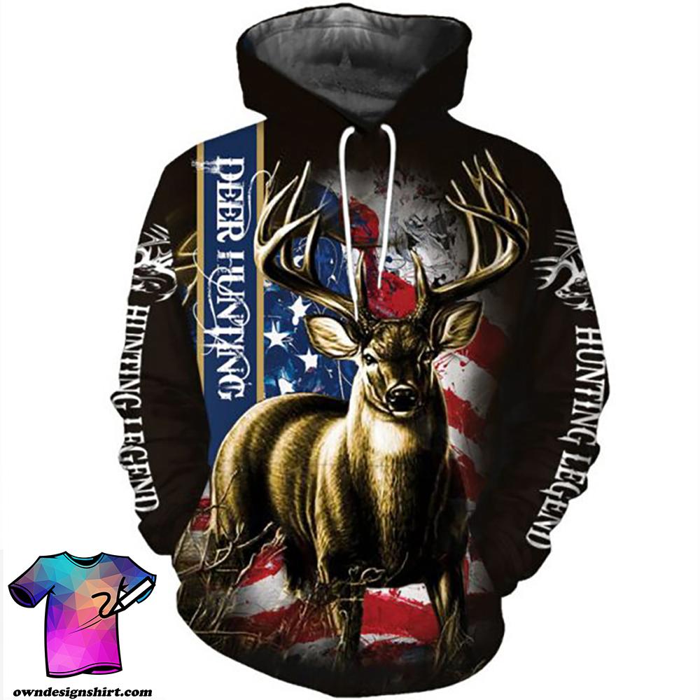 American flag hunting deer hunter all over print shirt
