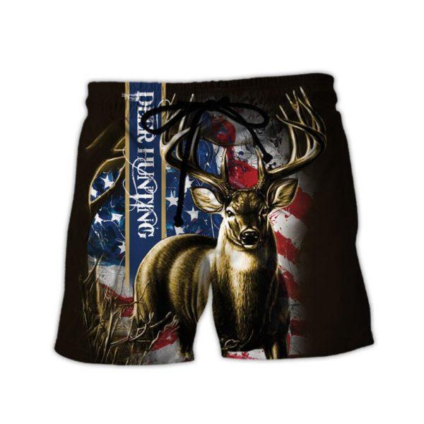 American flag hunting deer hunter all over print shorts