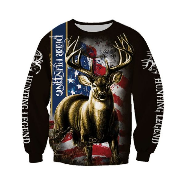 American flag hunting deer hunter all over print sweatshirt