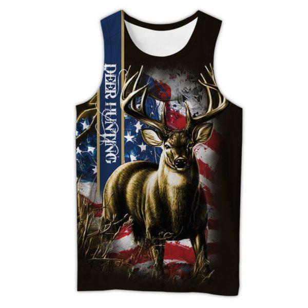 American flag hunting deer hunter all over print tank top