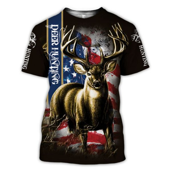 American flag hunting deer hunter all over print tshirt