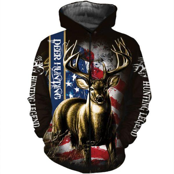 American flag hunting deer hunter all over print zip hoodie