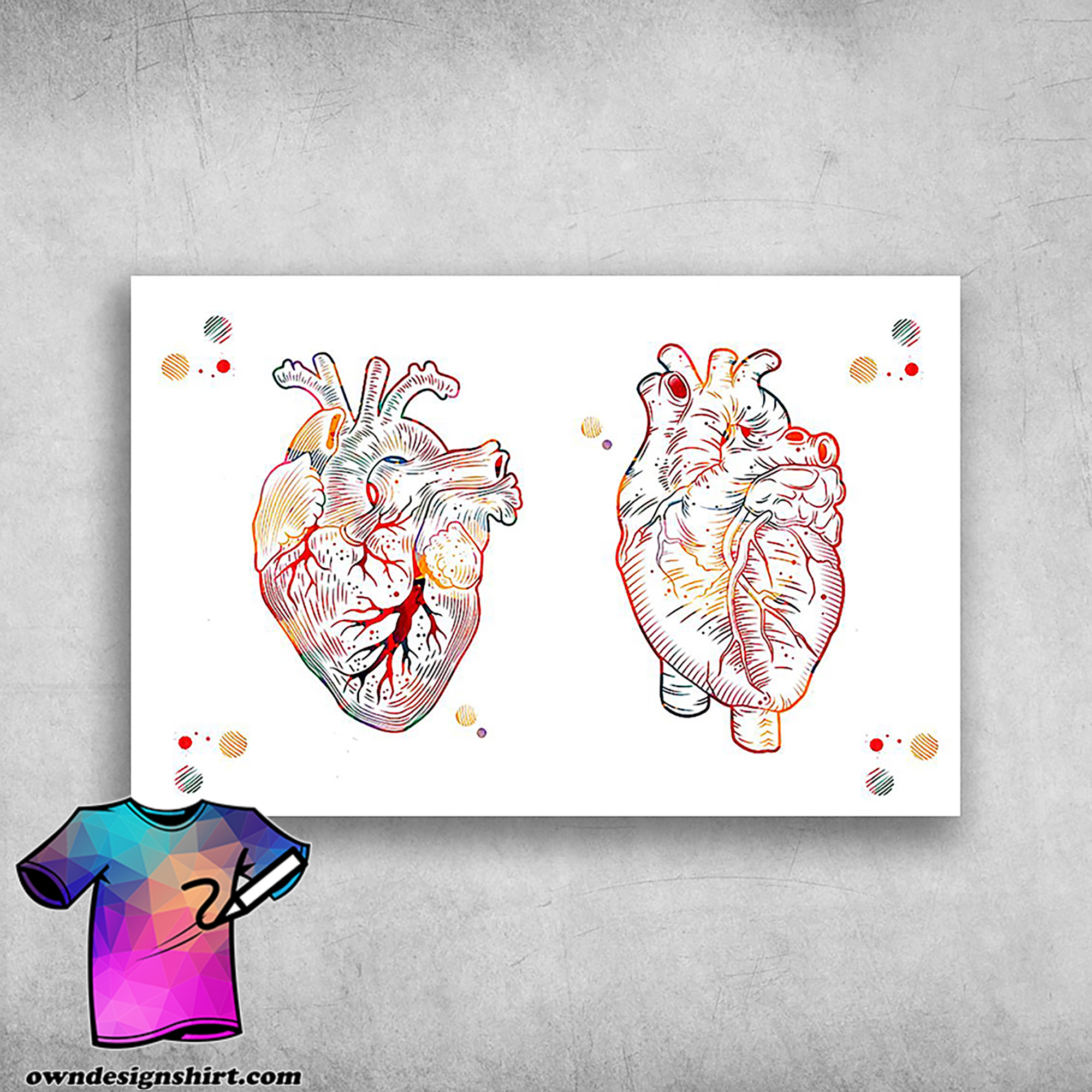 Anatomical heart painting watercolor painting of human heart poster