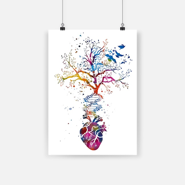 Anatomy of human heart dna tree colorful heart poster 2