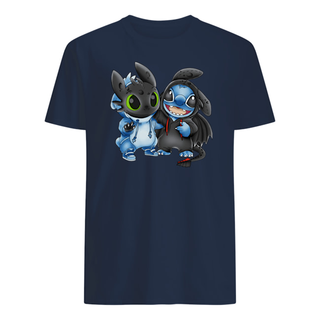 Baby stitch and baby toothless mens shirt